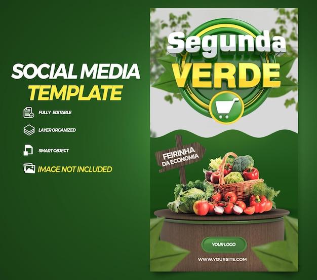 Opublikuj historie w mediach społecznościowych zielony poniedziałek w brazylii projekt szablonu renderowania 3d w języku portugalskim