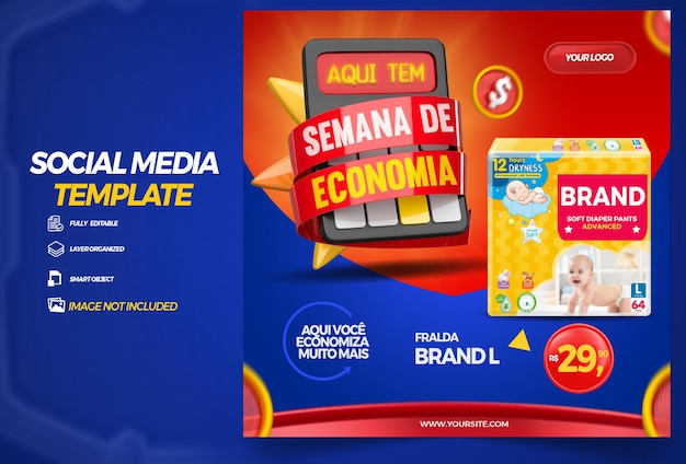 Opublikuj ofertę w mediach społecznościowych dotyczącą kompozycji dnia w kampanii renderowania 3d w brazylijskim supermarkecie