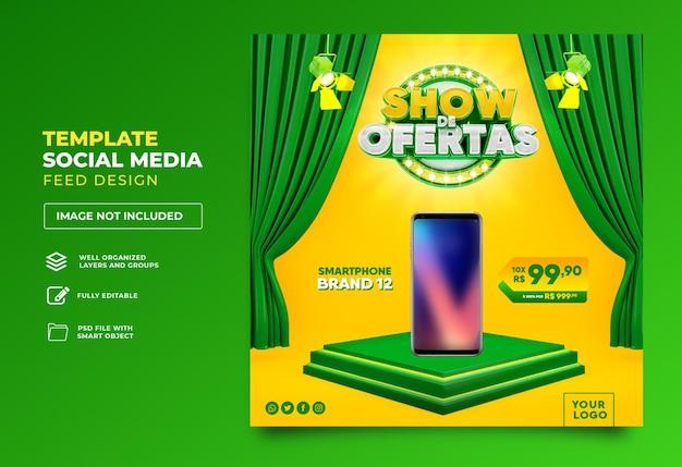 Opublikuj ofertę w mediach społecznościowych pokaż w renderowaniu 3d brazylijski projekt szablonu portugalskiego