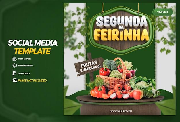 Opublikuj w mediach społecznościowych poniedziałek o składzie warzyw w kampanii renderowania 3d w brazylii