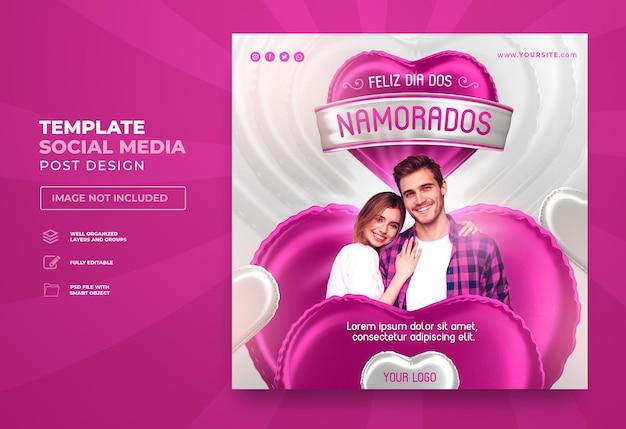 Opublikuj w mediach społecznościowych szczęśliwych walentynek w brazylii renderowania 3d