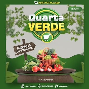 Opublikuj w mediach społecznościowych zielona środa w brazylii projekt szablonu renderowania 3d w języku portugalskim