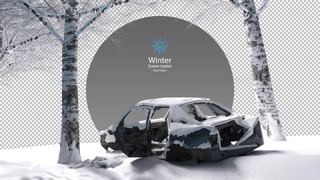Opuszczony wrak samochodu pokryty śniegiem pod drzewem zimą ścieżka przycinająca