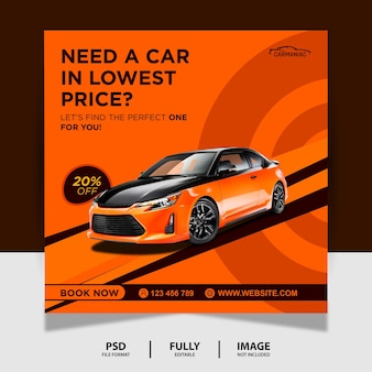 Orange potrzebujesz samochodu social media post banner