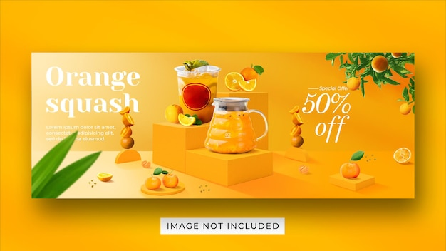 Orange squash drink menu promocja media społecznościowe szablon transparentu okładki na facebooku