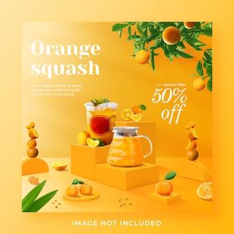 Orange squash drink menu promocja social media szablon postu na instagramie