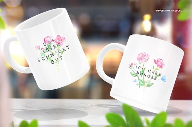Organic store coffee cup makieta na marmurowym stole