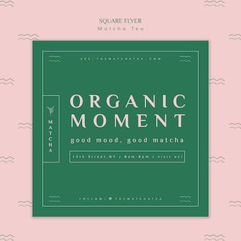 Organiczna ulotka matcha z herbacianą chwilą