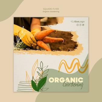 Organiczne ogrodnictwo kwadratowy szablon ulotki ze zdjęciem