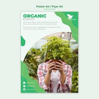 Organiczny plakat szablon z szablonem fotograficznym