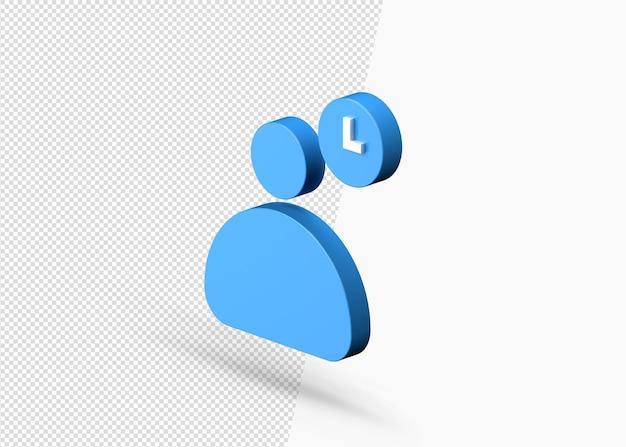 Osoba biznesu z czasem na przerwę 3d ikonę