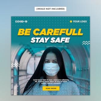 Ostrzeżenie przed wirusem corona szablon mediów społecznościowych