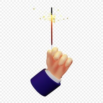 Oświetlony brylant w dłoni na białym tle renderowania 3d