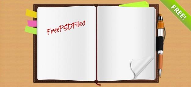 Oszałamiająca curled notebook psd graficzne