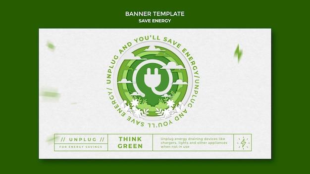 Oszczędzaj energię poziomego szablonu banera