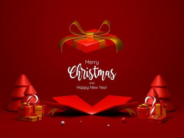 Otwarte pudełko na prezent świąteczny dla ilustracji 3d reklamy produktu