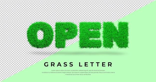Otwarty tekst listu z trawą w blenderze