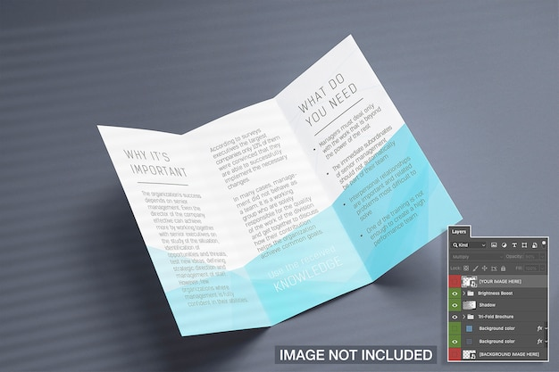 Otwarty tri-fold makieta ulotki
