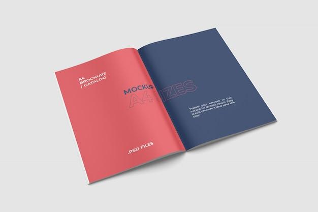 Otwarty widok broszury makiety a4 z dużym kątem