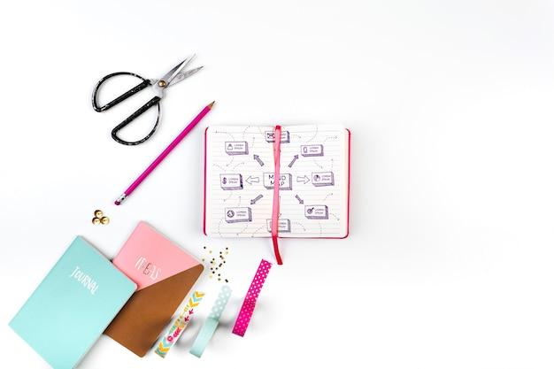 Otwórz książkę makieta w różowym stylu żeńskim