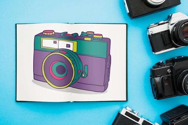 Otwórz książkę makieta z koncepcją fotografii