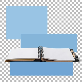 Otwórz książkę notatek na białym tle