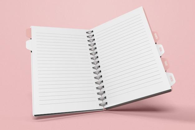 Otwórz latającą książkę z makietą podziału kart indeksu
