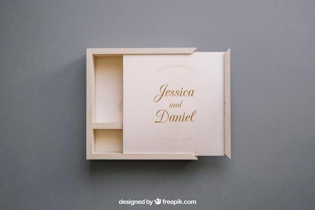 Otwórz makieta drewniane pudełko