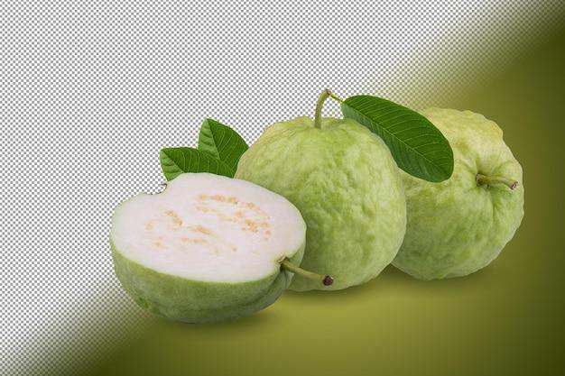 Owoc guawy na białym tle na tle alfa.