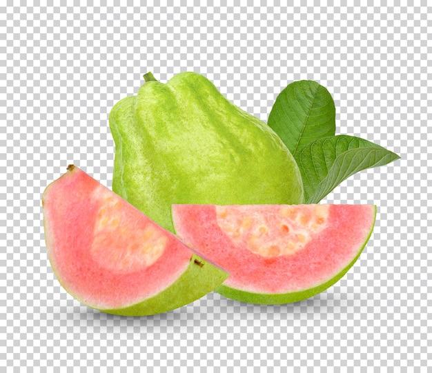 Owoc guawy z izolowanymi liśćmi