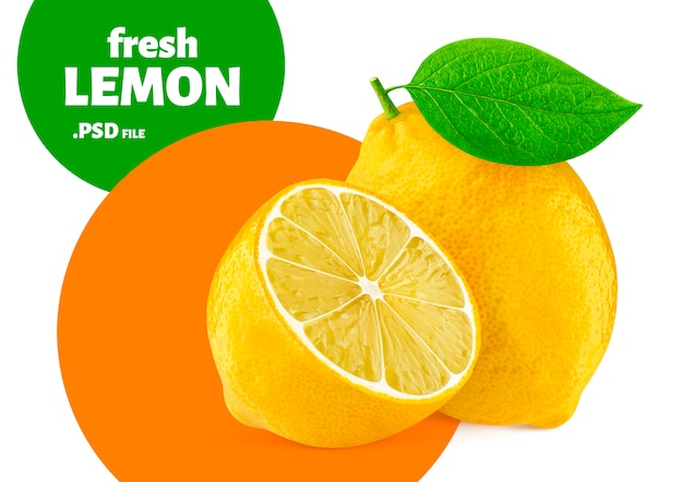 Owoce cytryny na białym tle,
