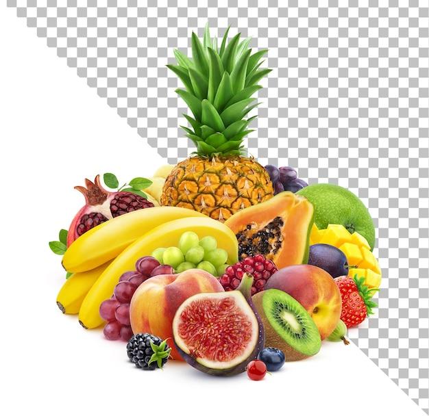 Owoce i jagody na białym tle