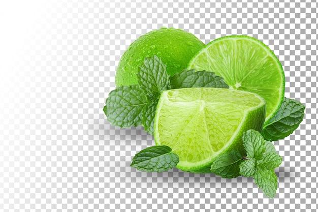 Owoce zielone cytryny na białym tle