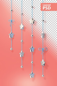 Ozdobne chromowane gwiazdki na sznurku