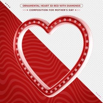 Ozdobne czerwone serce 3d z błyszczącymi diamentami