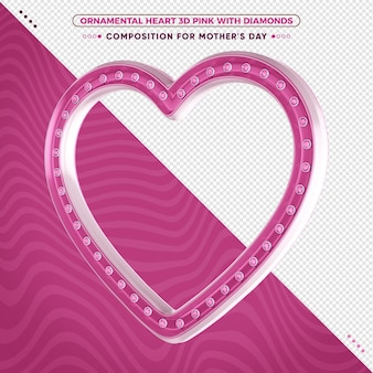 Ozdobne różowe serce 3d z błyszczącymi diamentami