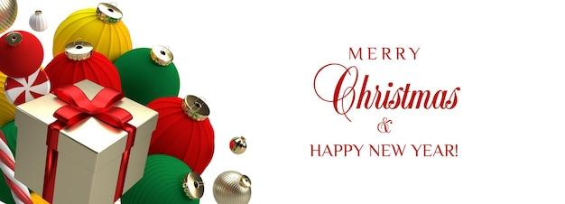 Ozdoby świąteczne prezent czerwone i złote kulki na białym tle