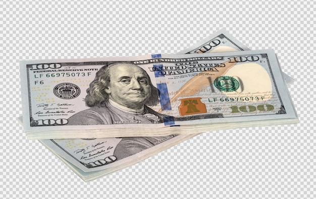 Paczki dolarów na białym tle