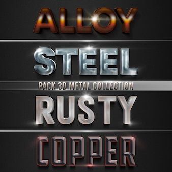 Pakiet 3d metal collection szablon projektu stylu tekstu