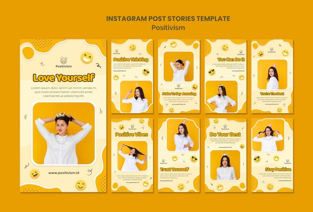 Pakiet historii na instagramie dla pozytywizmu ze szczęśliwą kobietą