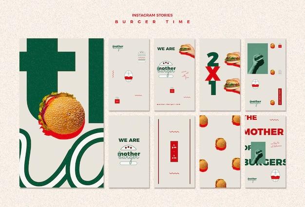 Pakiet historii na instagramie dla restauracji z burgerami