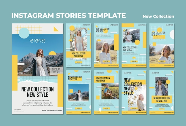 Pakiet historii na instagramie do kolekcji mody z kobietą w naturze