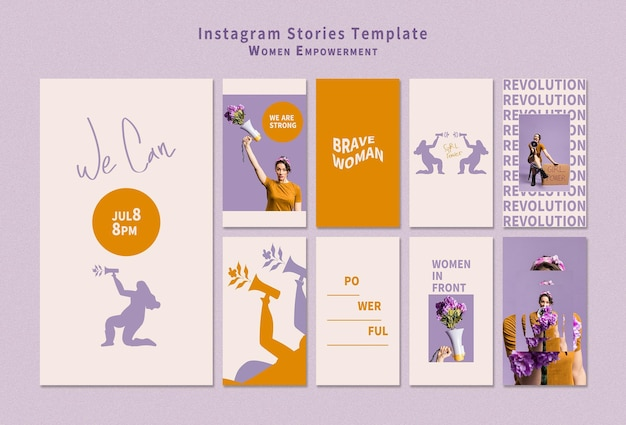 Pakiet historii na instagramie wzmacniający pozycję kobiet