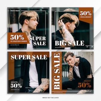 Pakiet instagram feed post fashion sale szablon