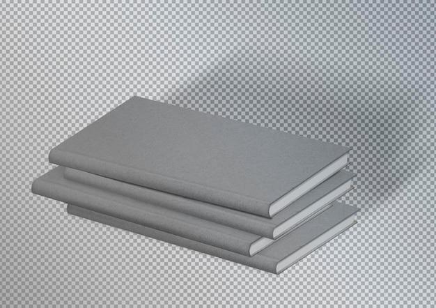 Pakiet izolowanych szarych teksturowanych książek