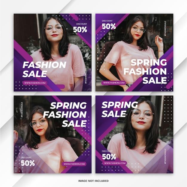 Pakiet na instagram post spring fashion sale template