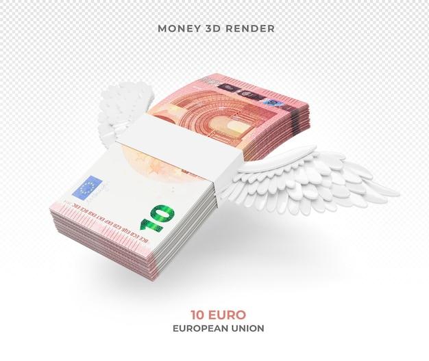 Pakiet pieniędzy 10 euro ze skrzydłami renderowania 3d