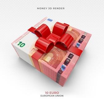 Pakiet pieniędzy 10 euro ze wstążką prezentową