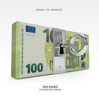 Pakiet pieniędzy 100 euro z zamkiem renderowania 3d