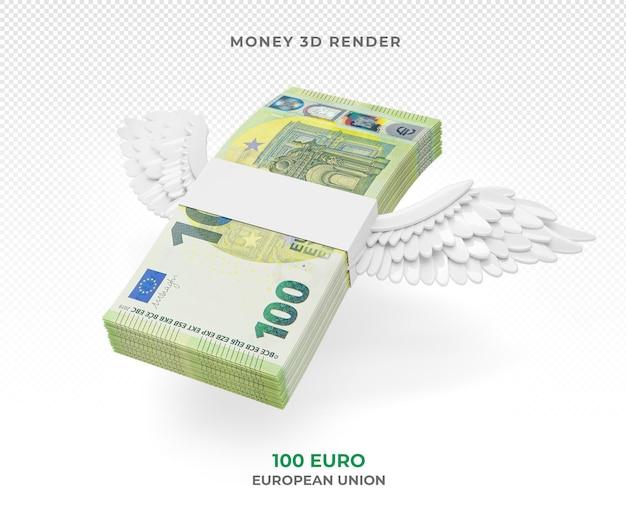 Pakiet pieniędzy 100 euro ze skrzydłami renderowania 3d